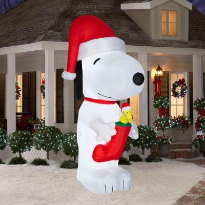 Snoopy And Woodstock Christmas Inflatable.10 Foot Snoopy Inflatable With Woodstock In Christmas Stocking