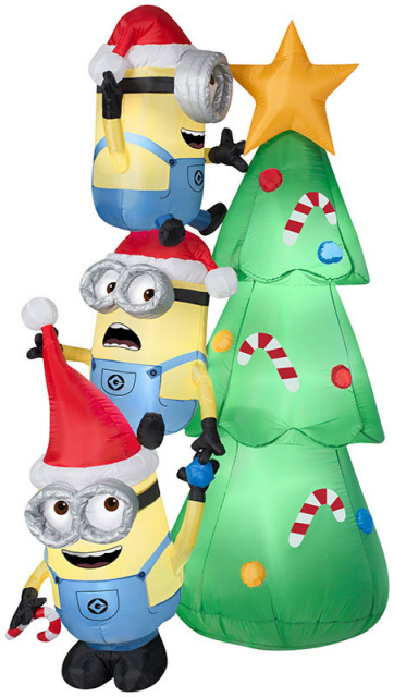 Christmas Tree Inflatable.Minions Decorating Christmas Tree Inflatable