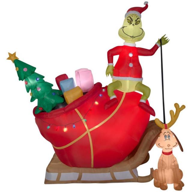 Christmas Inflatable.Santa Grinch And Sleigh With Max Christmas Inflatable