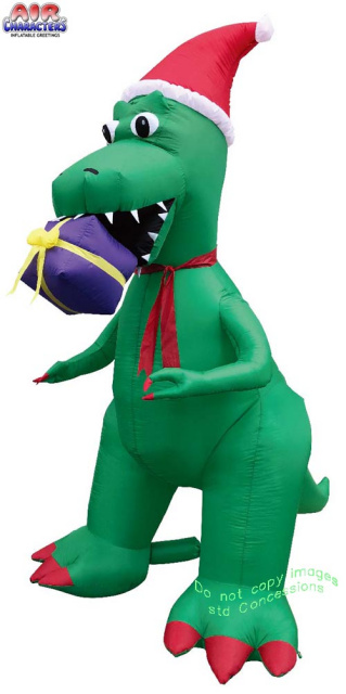 Inflatable Christmas Dragon.T Rex With Red Santa Hat Holiday Inflatable